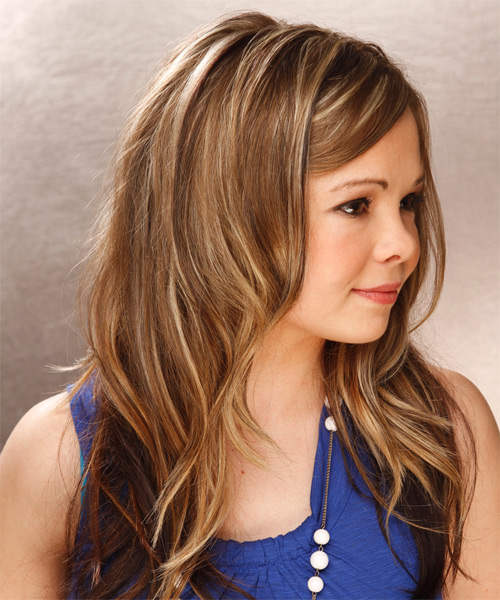 Long Straight Casual Hairstyle - Medium Brunette (Caramel) Hair Color - side view