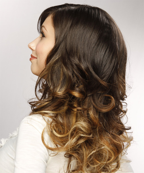 Long Curly Formal  - Medium Brunette - side view