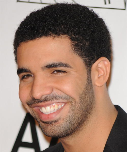 Drake Short Curly Afro Hairstyle - side view 1