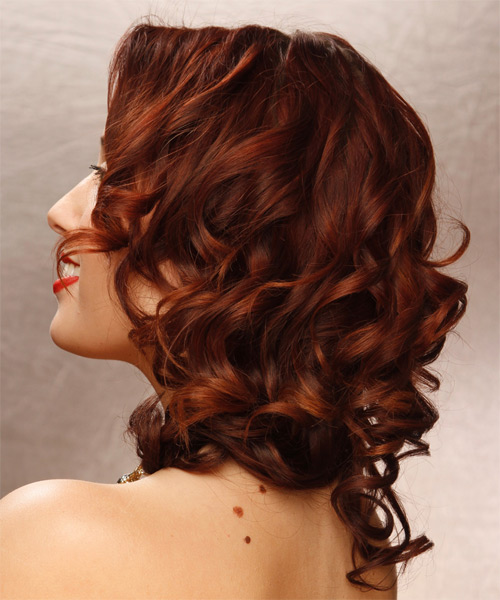 Long Curly Formal Hairstyle - Dark Red - side view 1