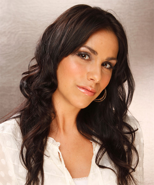 Long Wavy Casual Hairstyle - Dark Brunette Hair Color - side view