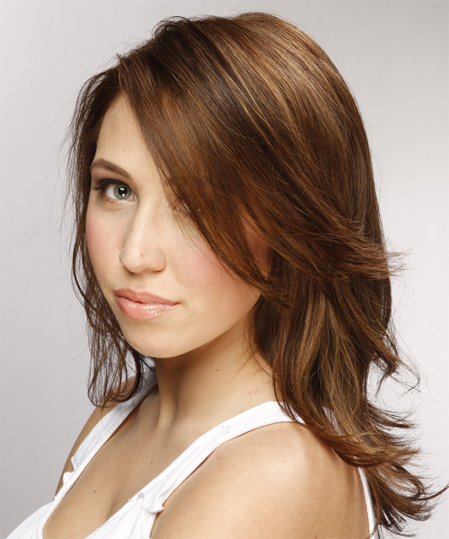 Medium Straight Casual Hairstyle - Medium Brunette (Chestnut) Hair Color - side view