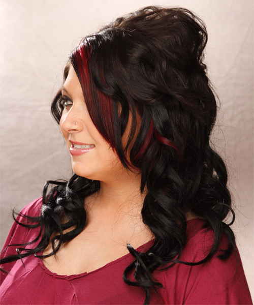 Long Wavy Formal Hairstyle - Black - side view