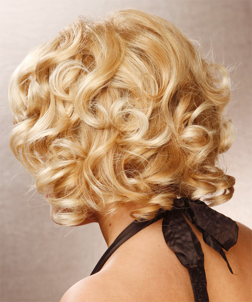 Medium Wavy Formal Bob Hairstyle - Light Blonde (Golden) - side view 1