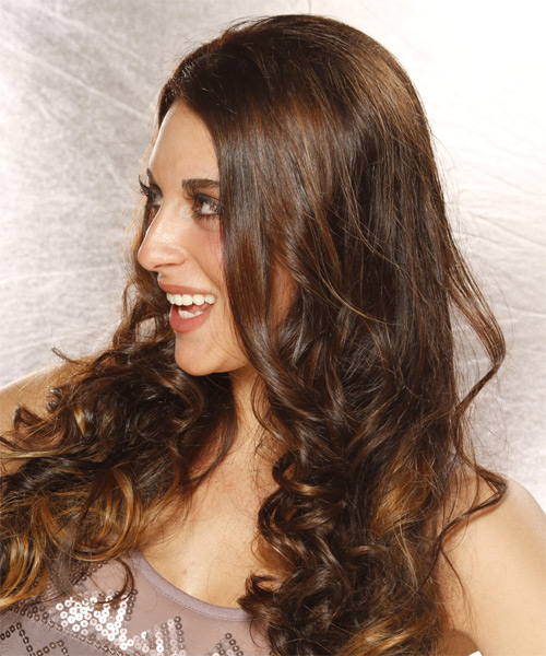 Long Curly Casual  - Dark Brunette - side view