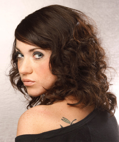 Medium Curly Formal Hairstyle - Dark Brunette - side view 1