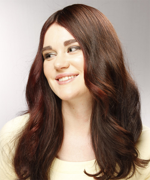 Long Wavy Casual Hairstyle - Dark Brunette (Burgundy) - side view