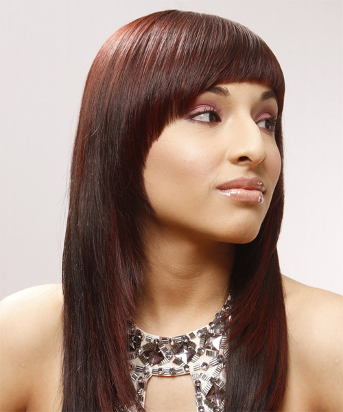 Long Straight Alternative Hairstyle with Blunt Cut Bangs - Medium Red Hair Color - side view