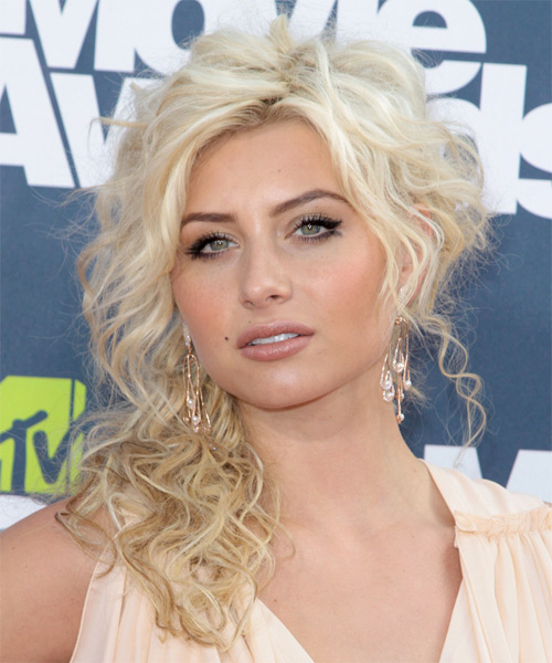 Alyson Michalka Long Curly Casual  - Light Blonde (Platinum) - side view