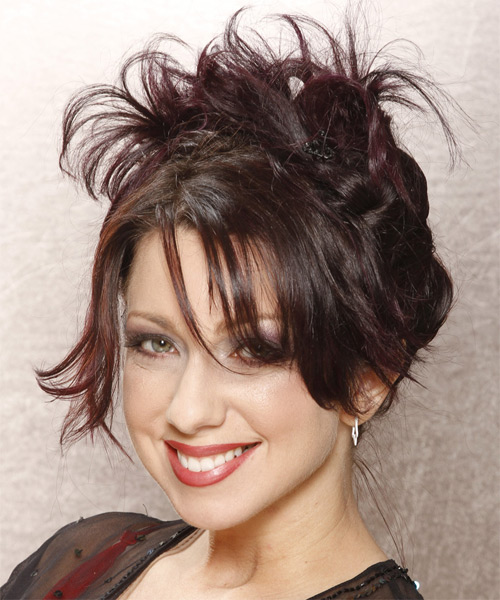 Casual Straight Updo Hairstyle - Dark Brunette (Plum) - side view 1