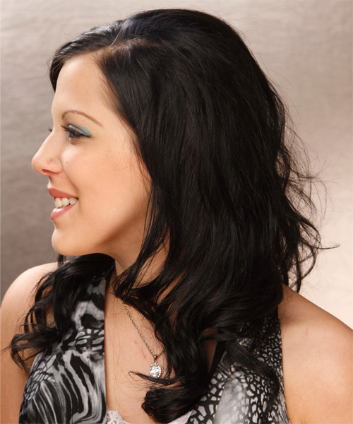Long Wavy Casual  with Side Swept Bangs - Black - side view