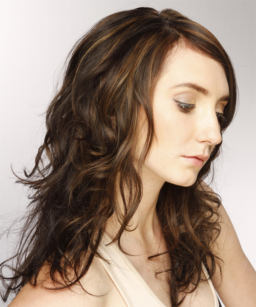 Long Wavy Casual  with Side Swept Bangs - Dark Brunette (Chestnut) - side view