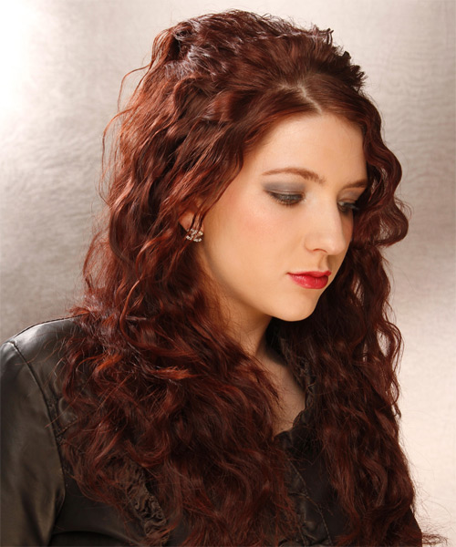 Long Curly Casual Hairstyle - Dark Red (Auburn) - side view 1