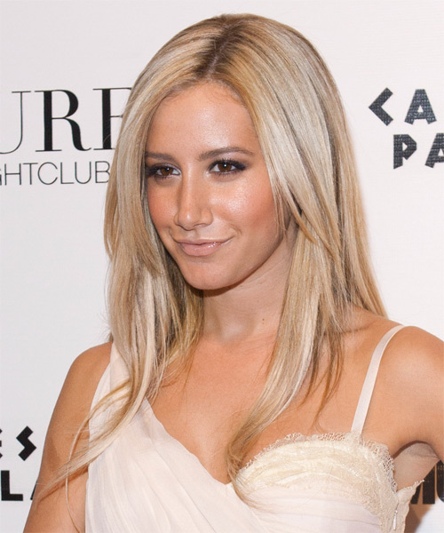 Ashley Tisdale Long Straight Hairstyle - Medium Blonde - side view 1