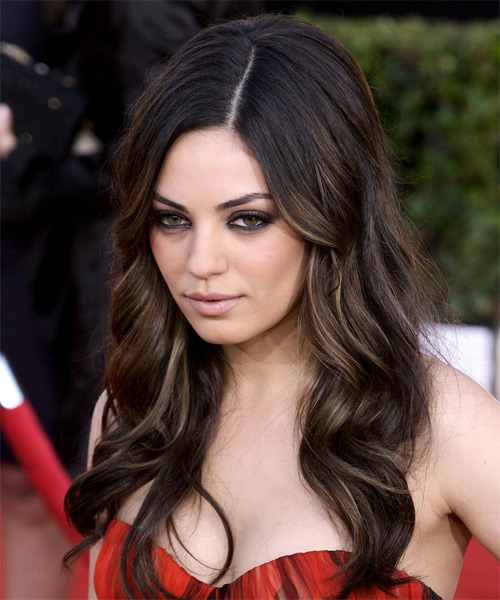Mila Kunis Long Wavy Hairstyle - Dark Brunette (Mocha) - side view 1