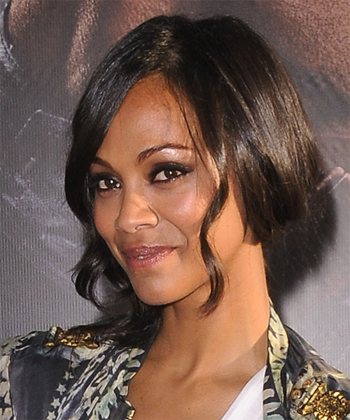Zoe Saldana Updo Medium Curly Casual  Half Up with Side Swept Bangs - Black - side view