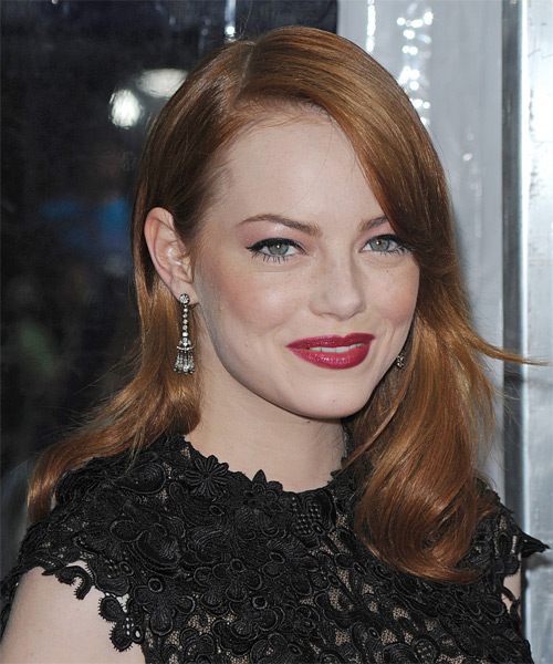 Emma Stone Long Straight Hairstyle - Medium Red (Copper) - side view