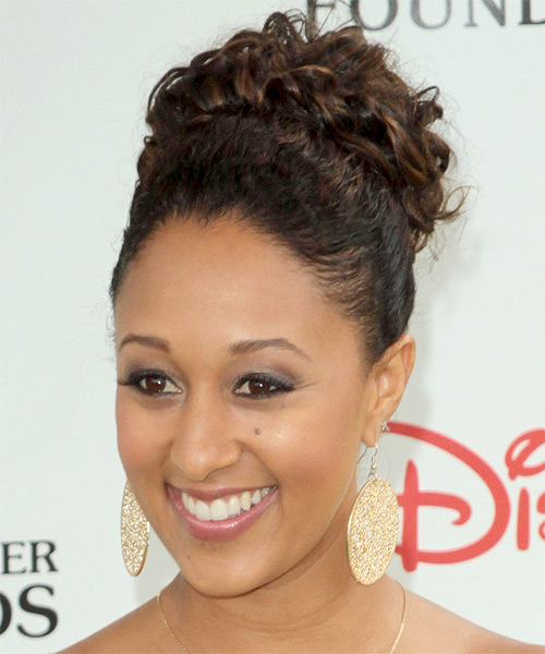 Tamera Mowry  Updo Long Curly Formal Wedding - Black - side view
