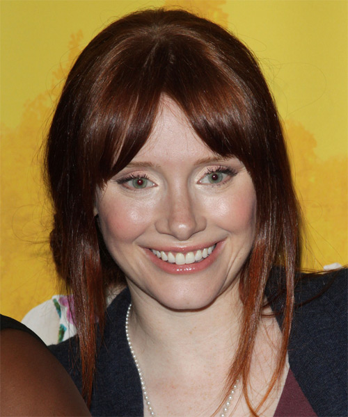 Bryce Dallas Howard Updo Long Straight Casual  with Layered Bangs - Dark Red (Auburn) - side view