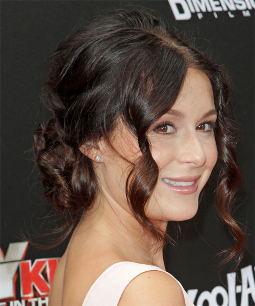 Alexa Vega Updo Long Curly Formal Updo Hairstyle - Dark Brunette Hair Color - side view