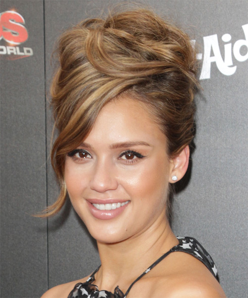 Jessica Alba Curly Formal Updo Hairstyle with Side Swept Bangs - Medium Brunette Hair Color - side view