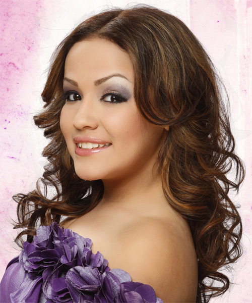 Long Wavy Formal Hairstyle - Medium Brunette Hair Color - side view