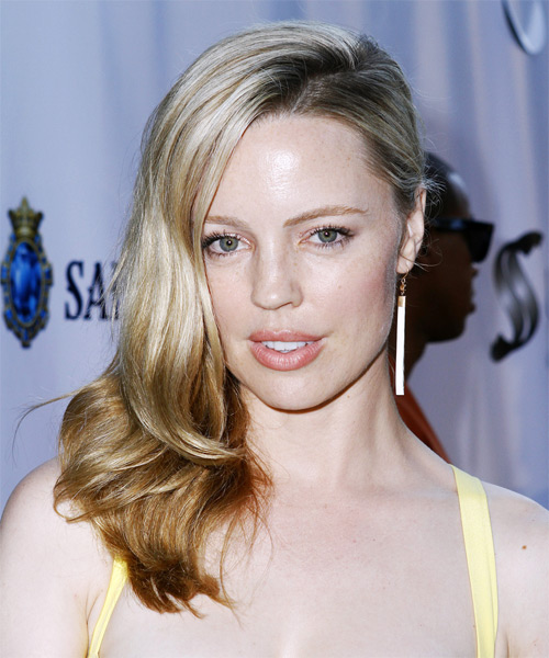 Melissa George Long Straight Hairstyle - Light Blonde (Champagne) - side view
