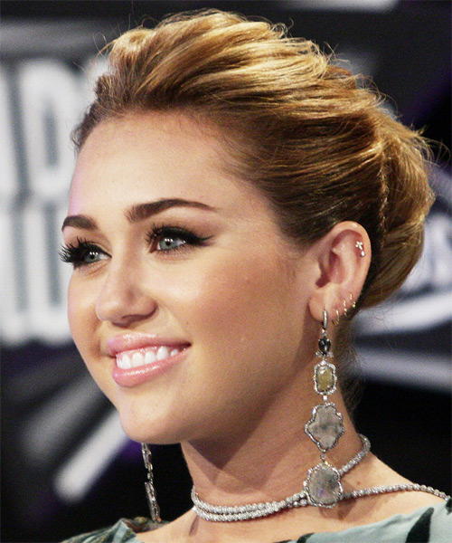 Miley Cyrus Curly Formal Updo Hairstyle - Medium Brunette Hair Color - side view