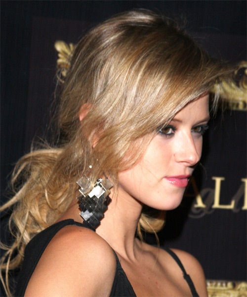 Sasha Jackson Curly Casual Updo Hairstyle with Side Swept Bangs - Dark Blonde Hair Color - side view
