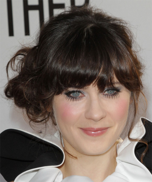 Zooey Deschanel Curly Casual Updo Hairstyle with Blunt Cut Bangs - Dark Brunette Hair Color - side view