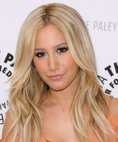 Ashley Tisdale Long Straight Casual Hairstyle - Light Blonde (Honey) Hair Color - side view
