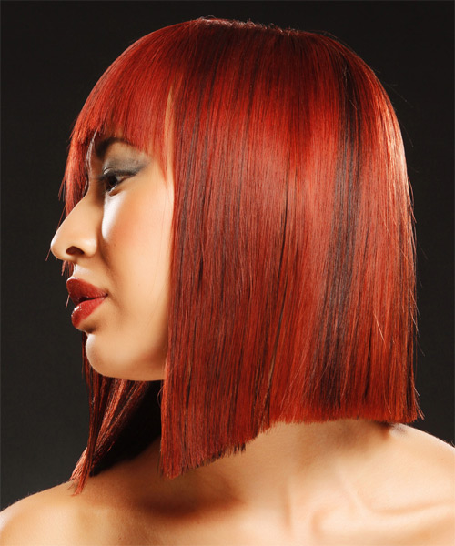 Medium Straight Alternative Emo with Asymmetrical Bangs - Dark Red - side view