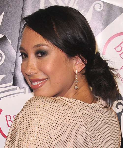 Cheryl Burke Updo Long Straight Casual  - Dark Brunette - side view
