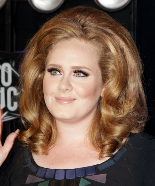 Adele Medium Wavy Formal Hairstyle - Dark Blonde Hair Color - side view