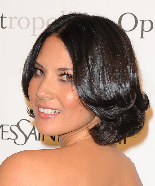 Olivia Munn Short Wavy Formal Bob Hairstyle - Dark Brunette Hair Color - side view