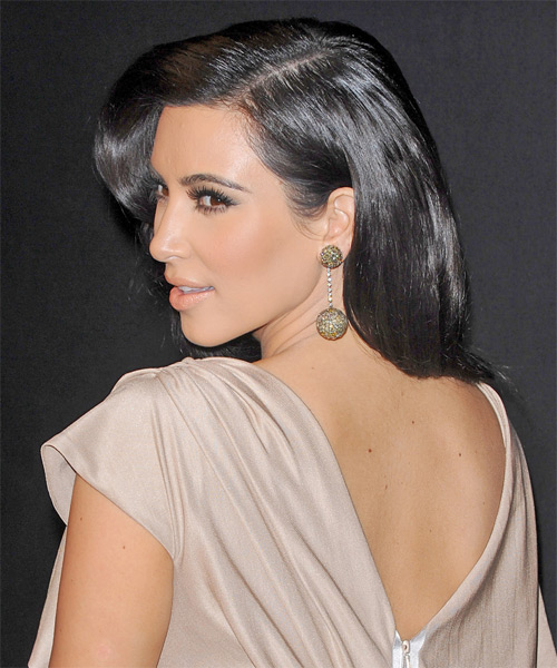 Kim Kardashian Long Wavy Formal Hairstyle - Black Hair Color - side view