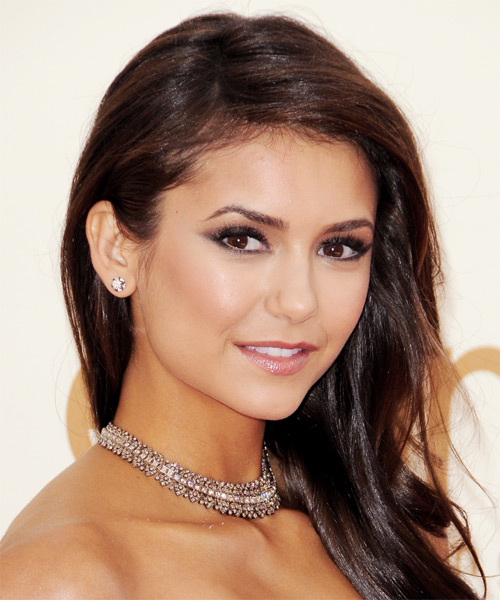 Nina Dobrev Long Wavy Hairstyle - Dark Brunette - side view