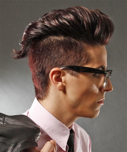 Short Straight Alternative Hairstyle - Dark Red (Plum) - side view 1