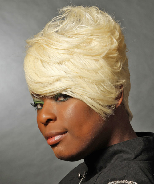 Short Straight Formal  with Side Swept Bangs - Light Blonde - side view