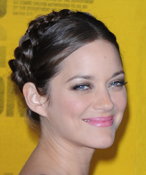 Marion Cotillard Formal Curly Updo Braided Hairstyle - Dark Brunette - side view
