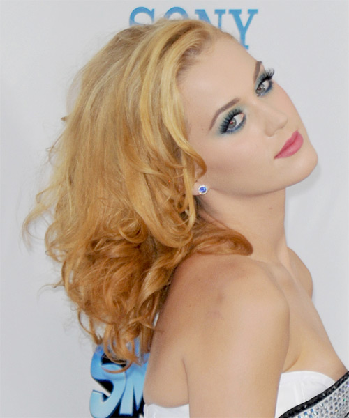 Katy perry medium wavy hairstyle medium blonde bright side view