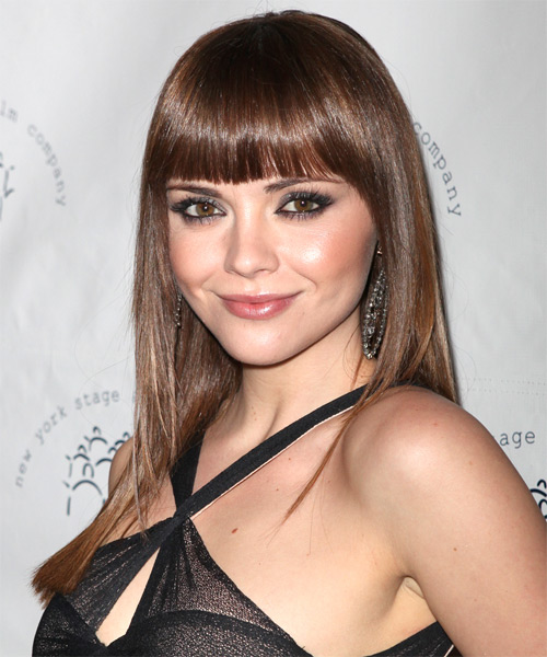 Christina Ricci Long Straight Hairstyle - Medium Brunette (Chestnut) - side view