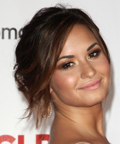 Demi Lovato Curly Casual Updo Hairstyle with Side Swept Bangs - Dark Brunette (Mocha) Hair Color - side view