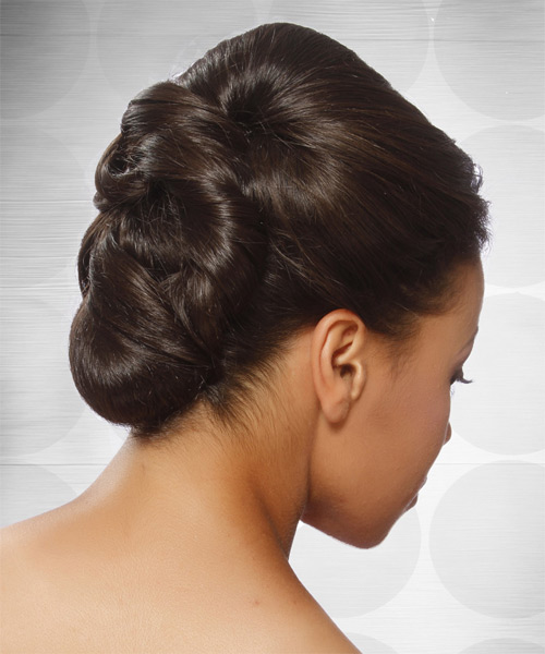 Formal Straight Updo Hairstyle - Medium Brunette (Mocha) - side view 1
