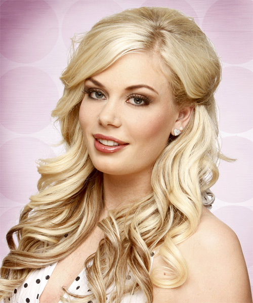 Long Wavy Formal  with Side Swept Bangs - Light Blonde (Champagne) - side view