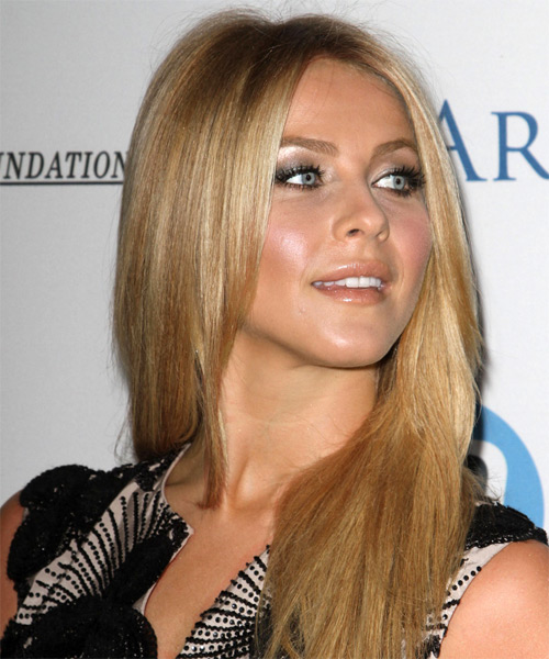 Julianne Hough Long Straight Hairstyle - Dark Blonde (Honey) - side view 1