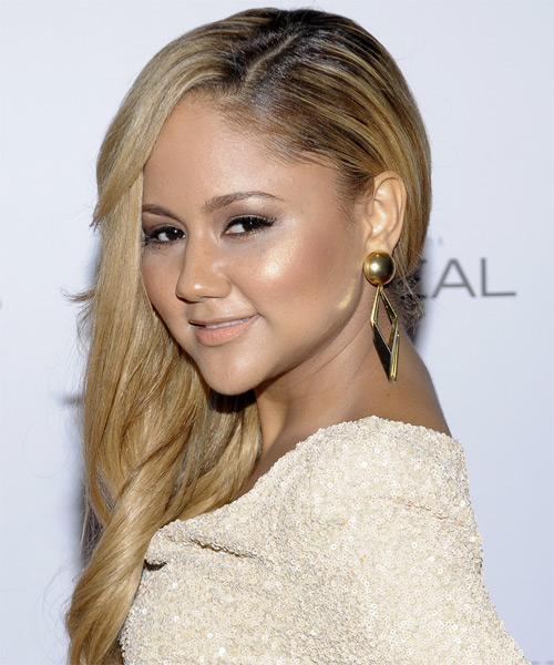 Kat DeLuna Long Wavy Hairstyle - Medium Blonde (Golden) - side view