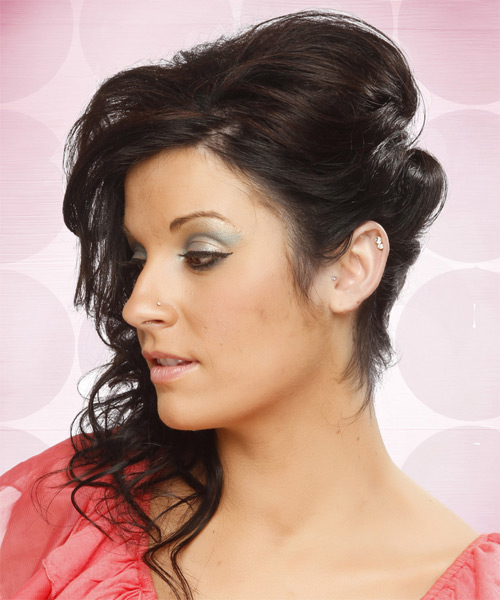 Formal Curly Updo Hairstyle - Dark Brunette (Mocha) - side view 1
