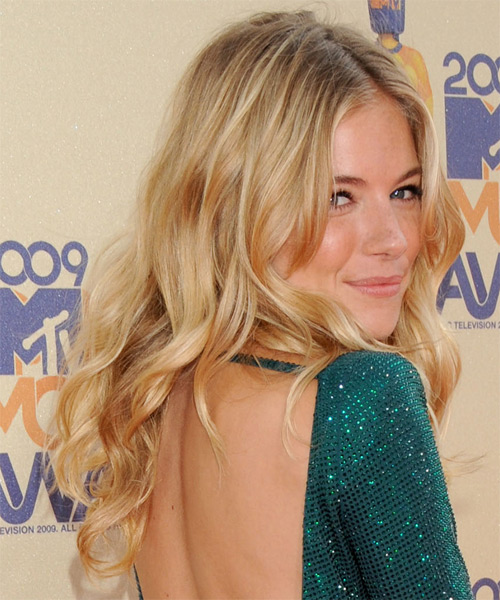 Sienna Miller Long Wavy Hairstyle - Medium Blonde (Golden) - side view 1