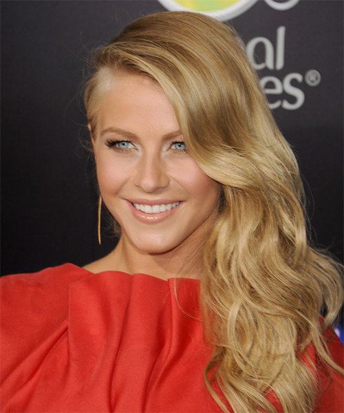 Julianne Hough Long Wavy Formal Hairstyle - Medium Blonde (Golden) Hair Color - side view